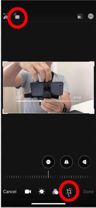 iPhoneの写真アプリの回転ボタン