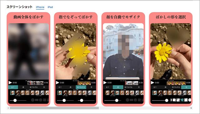 iOSアプリ「動画モザイク」でできる加工